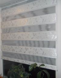 Рулонная штора Зебра мини Орнамент серебро
