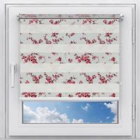 Рулонная штора на пластиковое окно мини Зебра Силуэт красный